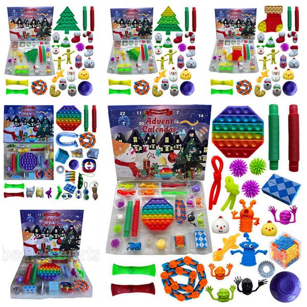 top popular Stock! 24pcs Set Christmas Fidget Toys Xmas Countdown Calendar Blind Boxes Sensory Pack 5 Styles Advent Calendar Christmas Box ZZA3433 2021
