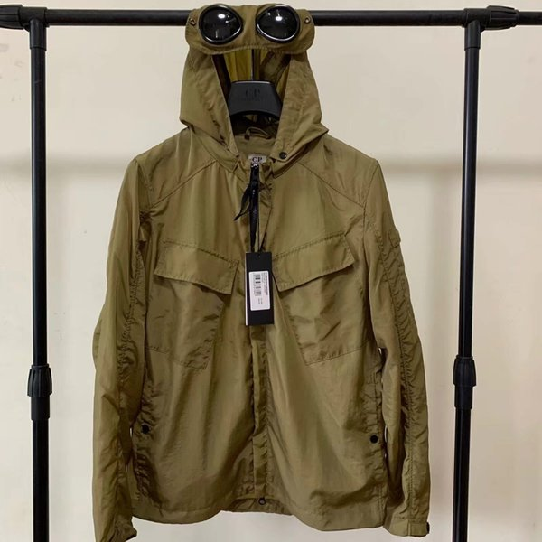 top popular Metal nylon two glasses GOGGLE men jacket casual CP hoodies outdoor windbreak black army green orange 2021