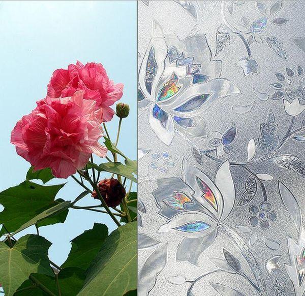 top popular 3D Flower Decorative Window Privacy Film Stained Glass Window Sticker Window Self-adhesive Vinyl Static Anti Uv Glass Tint Film 2021