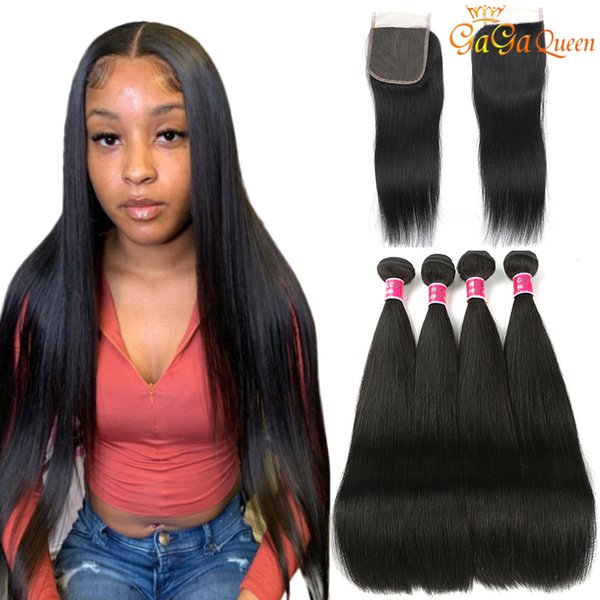best selling Brazilian Straight Hair Bundles With 4x4 Closure Unprocessed Brazilian Virgin Hair Straight With Lace Closure Human Hair Extensions