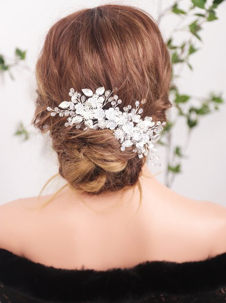 2021 New Arrival Wedding Silver Rhinestones Leaf Hair Comb Hair Accessories with Crystal Rhinestones for Women