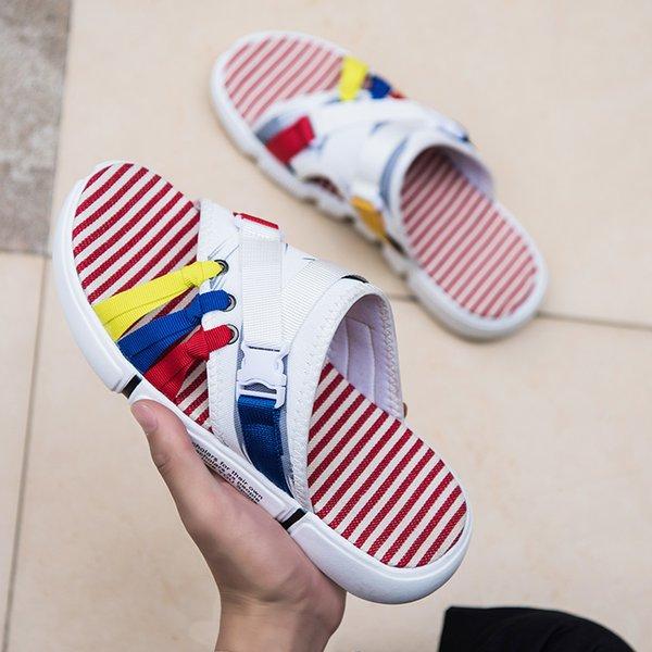 2021 New Summer Mens Slippers High Quality Colorful Soft Slippers Men Beach Sandals Non-Slip Flip Flops Man Designer Slides Men
