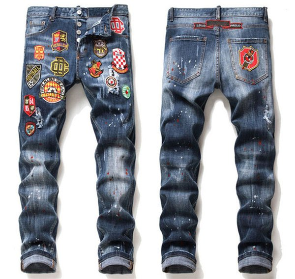 top popular 2021 High quality Mens jeans Distressed Motorcycle biker jean Rock Skinny Slim Ripped hole letter fashion men pants 2021