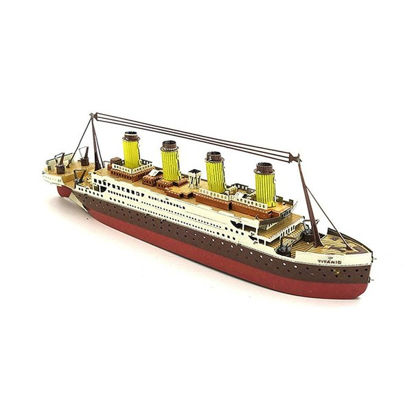top popular 3 Dimensional Puzzles Titanic Metal Jigsaw Toy Kit DIY Boat Set Ship Model Educational Toys Gift for Kids 2021