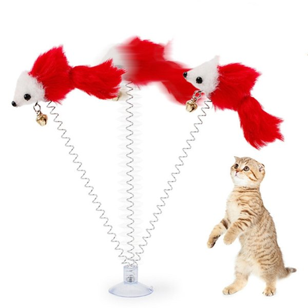 top popular Funny swing spring Mice with Suction cup Furry cat colorful Feather Tails Mouse Toy for Cats Small Cute Pet Toys ZWL208 2021