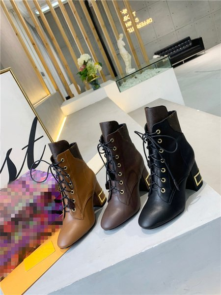 High heeled Martin boots Winter Coarse heel woman shoes luxury designer Desert leather High heel boots Large size US 35-41