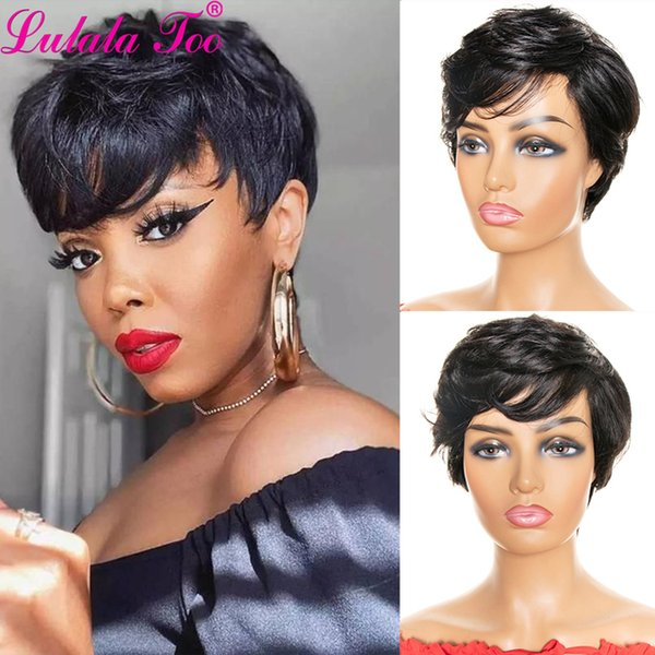 Wholesale Cheap Lace Wigs Short Pixie Cut Human Hair Wigs With Bangs For Women Machine Made Wig 100% Remy Human Hair