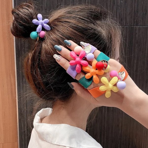 Elastic Rubber Bands Ring Girl Hair Band Women Hair Accessories New Cute Flower Candy Color Hair Rope Circle