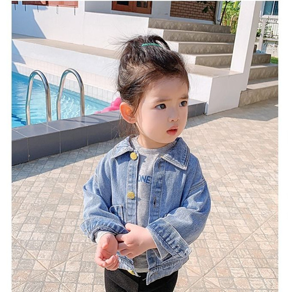 INS HOT baby girls denim coat 1-9 years old childrens jacket Childrens clothing Cartoon patch beauty girls outdoor coat