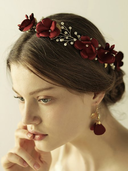 Vintage Red Rose Leaves Pearl Headband and Earrings Flower Hair Accessories sets Bridal Wedding Decoration Banquet for women