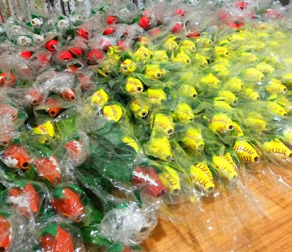 best selling 2021 collectable softball leather roses yellow red stitching seam softball graduation gift rose flower Connectors