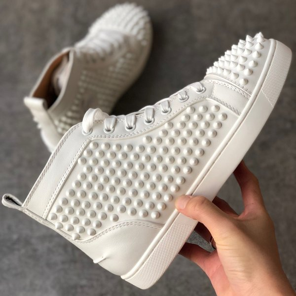2021 Top Quality White Spikes Red Bottoms Sneakers Orlato Spikes Flat Trainers High -top Men Women Red Bottoms Shoes Outdoor Casual Shoes