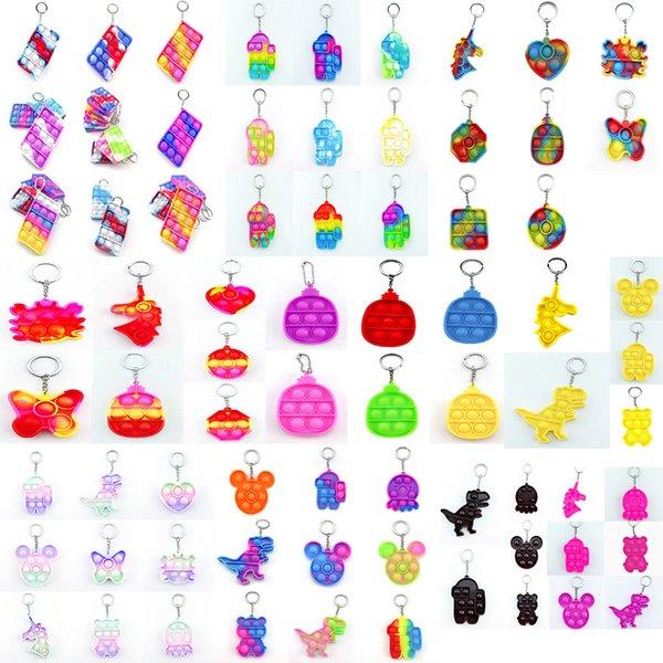 top popular Fidget Toys Sensory Dinosaur unicorn cute animal colorful keychain Push Bubble Anti Stress Educational Children And Adults Decompression Toy Surprise wholesale 2021