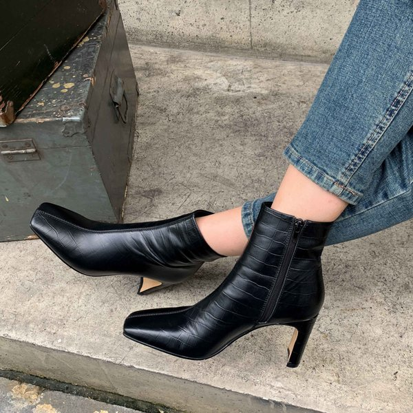 best selling leather stone pattern high street boot square toe thick heel zip gorgeous