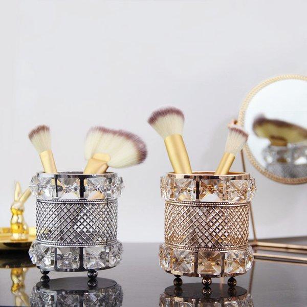 Europe Crystal Makeup Brush Pen Holder Storage Tube Jewelry Lipstick Eyebrow Pencil Makeup Storage Box Cosmetic Makeup Ornaments