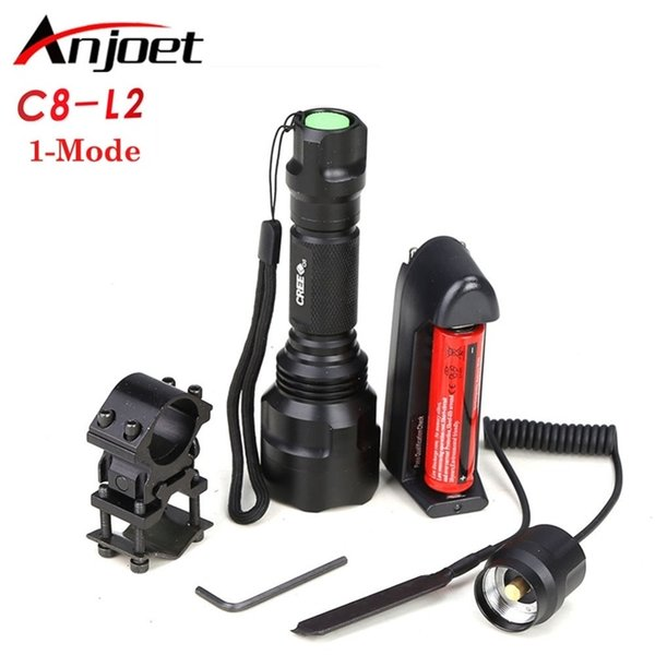top popular Hunting light C8 Tactical flashlight XM-L L2 led 1-mode torch+18650 battery+Charger+Pressure Switch Mount Rifle Gun Light Lamp 210202 2021