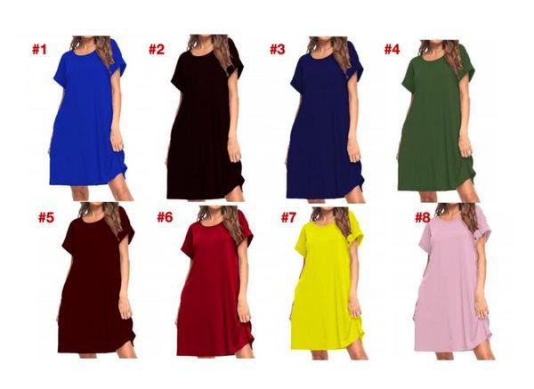 best selling LU post Women Maxi Dress Summer Casual V-neck Solid Long Fashion Pockets Short Sleeve Loose Female Vestidos Plus Size