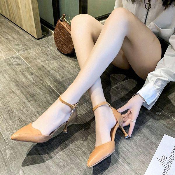 Fashion Buckle Pumps Women Pointed Toe Sandals High Heels Summer Office Pu Leather Thin High Heels Women Stiletto Heel Sandals B41L#