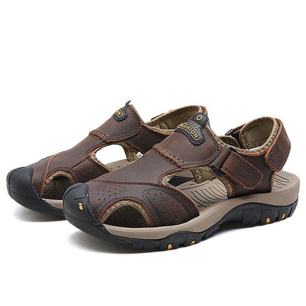 Men Big Size Sandals male Summer Genuine Leather Casual Shoes Man soft Roman Style Beach Sandals Brand Men Summer Men slippers