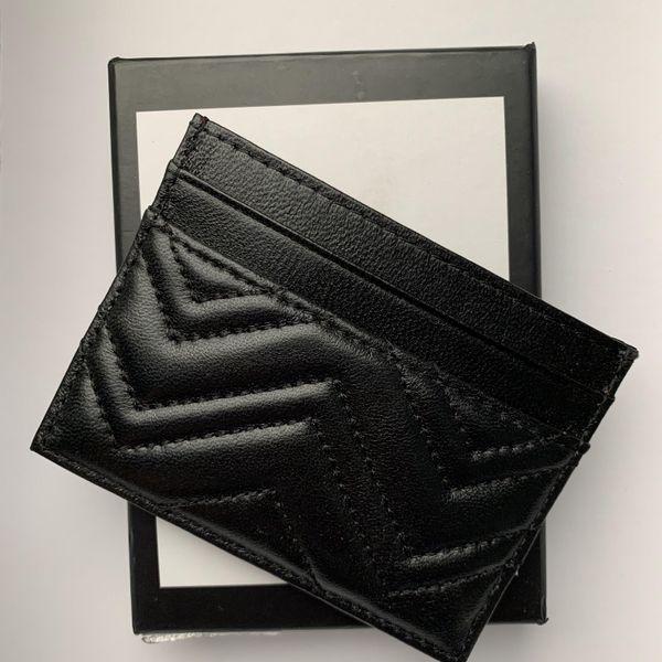 best selling Designer Card Holder Wallets Credit cards package handbag sheepskin Black Lambskin Mini Coin purse pocket Interior Slot Pockets Genuine Leather small bag with box