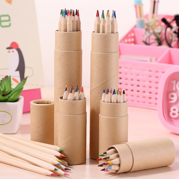 top popular 12 Color Drawing Pencil Wood Painting Pens Kids Colored Pencils in Kraft Paper Tubes DHL Free W0084 2021