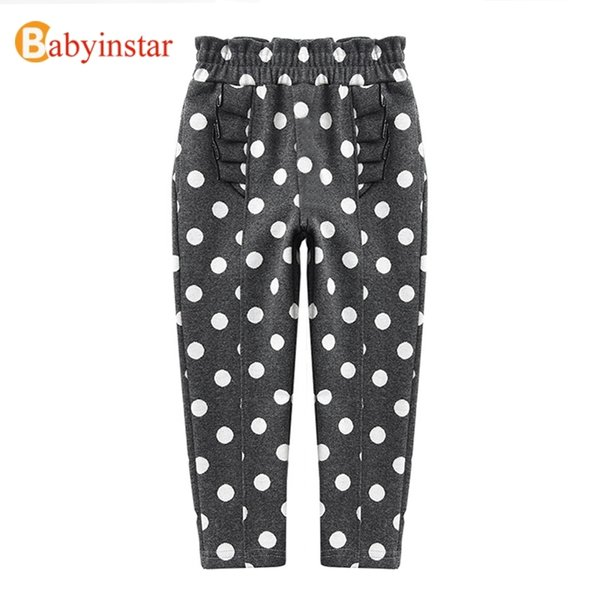 best selling Boutique Girls Pants Autumn Toddler Pants Dot Print Girls Trousers Spliced Cotton Baby Girl Bottoms Soft Pants Kids A0510