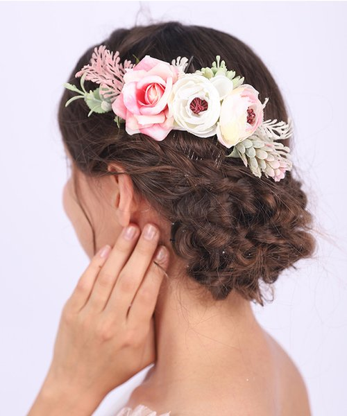 VIntage Rose and Leaves Hair Accessories Bride Wedding Hair Comb Graceful Women Headwear Banquet Ornament for women