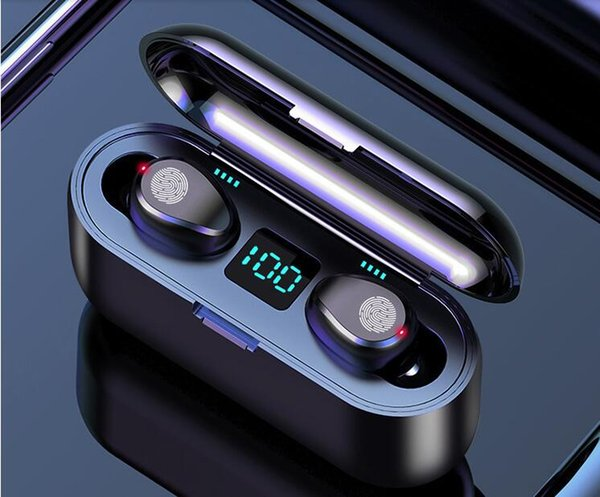 best selling F9 F9-B Wireless Earphone Bluetooth V5.0 Headphone HiFi Stereo Earbuds LED Display Touch Control 2000mAh Power Bank Headset With Mic