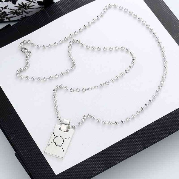best selling Designer Jewelry Womens Necklace Luxury Beads Charm Pendant Fashion Titanium Link chain Steel Skull High Quality Letter Necklaces Silver Plated Jewelrys white box