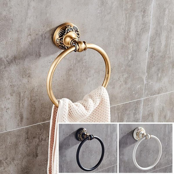 best selling Antique Black White Wall-Mounted Round Towel Ring Classic Bathroom Holder Accessories Rings