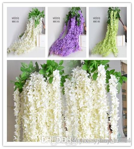 White green purple color 1.6 Meter Long Artificial Silk Flower Vine Wisteria Garland Fake Plants For Garden Wedding Party Decorations