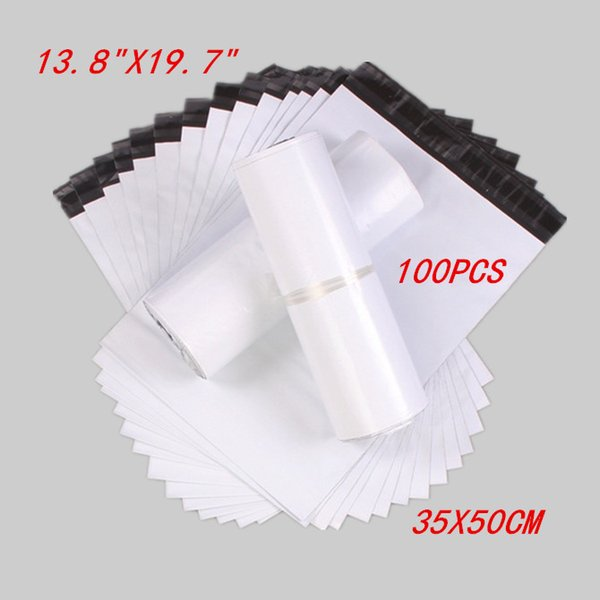 "100pcs 35X50cm 13.8""X19.7"" New White High Quality HDPE Material Courier Mailing Bags Self-Seal Express Envelope co-extrusion"