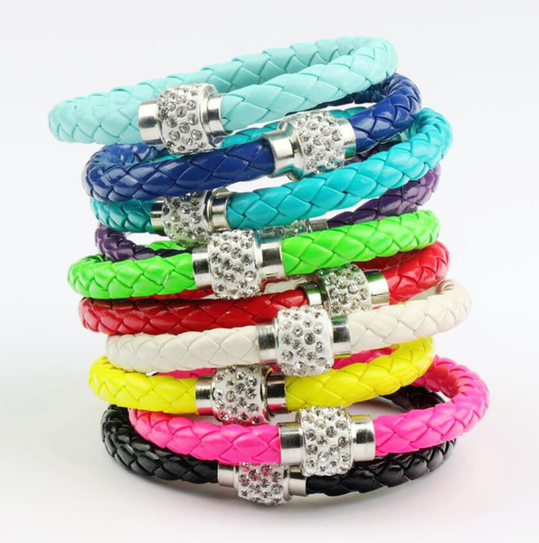 best selling New 50 colors MIC Shambhala Weave Leather Czech Crystal Rhinestone Cuff Clay Magnetic Clasp Bracelets Bangle 3size length 19cm 21cm 23cm