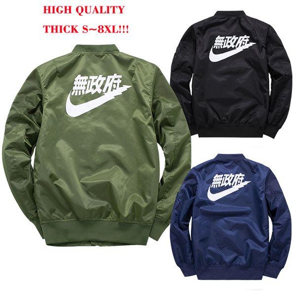 Ma1 Bomber Jacket Thick Plus Size S-8XL Winter Jackets Pilot Anarchy Outerwear Men 4 Colors Kanji Japanese Merch Flight Coat Streetwear
