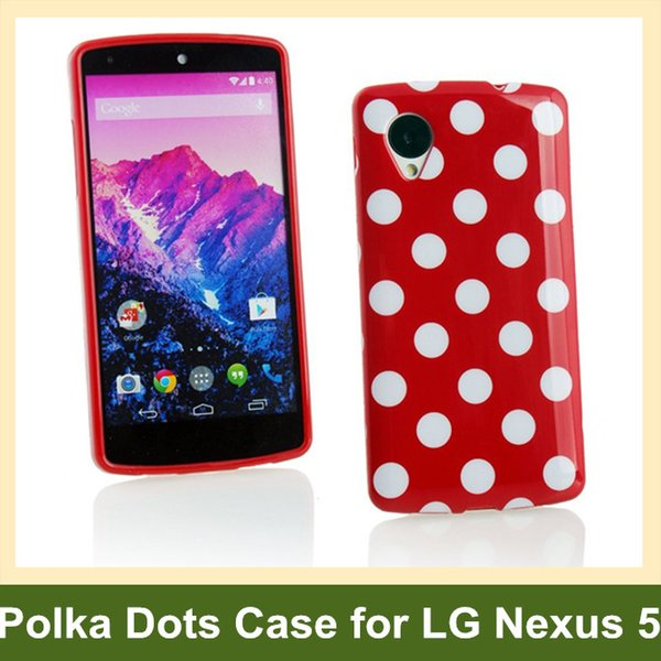 Wholesale Fashion Polka Dots Soft TPU Gel Cover Case for LG Nexus 5 E980 Free Shipping