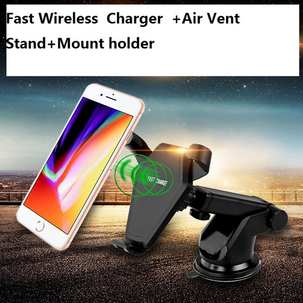QI 9V Fast Wireless Charger Car Mount Holder Air Vent Stand for iPhone 8 X Samsung Galaxy S6 S7 S8 Plus IN REATIL 22PCS/LOT