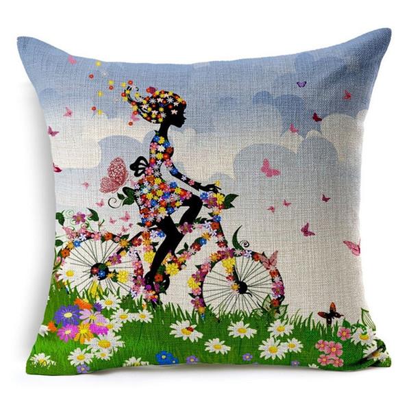 Bicicletta Cuscino Cuscino Flower Throw Pillow Case Vintage Girl Riding Bike Retro Cuscino decorativo per cuscino da divano