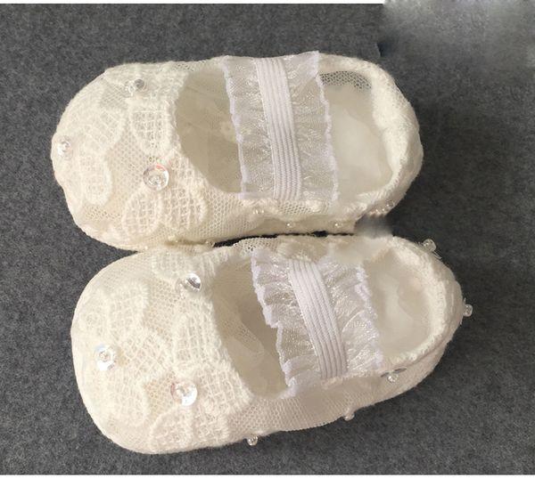 Bling Sequined New Arrival Sapatos de batismo para bebê Beaded Kids Formal Wear Calçados de meninas brancas em venda