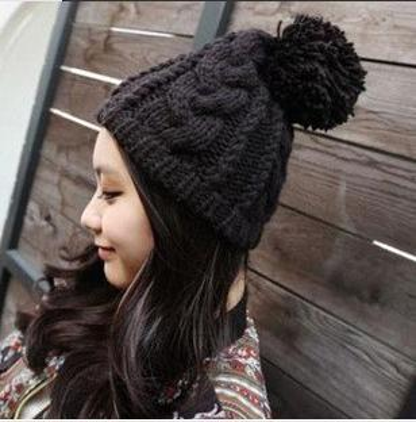 Dickes Acryl stricken Pom Pom Beanie Winter Ski Hut Caps für Frauen Freies Verschiffen