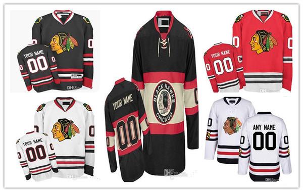 Kundenspezifische Männer Chicago Blackhawks Trikots Benutzerdefinierte genäht jeden Namen eine beliebige Anzahl Eis Jersey, authentische Jersey Stickerei Logos Größe S-XXXL