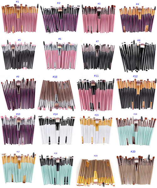 22 Renkler Yeni Tasarım Pro Kozmetik Makyaj Fırçalar 20 adet / takım Profesyonel Yumuşak Yüz Pudra Fondöten Makyaj Fırça Seti Kitleri