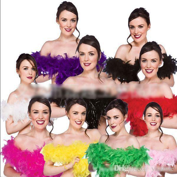 top popular 2015 2M 40g Feather Boa Glam Flapper Dance Fancy Dress Costume Accessory Feather Boa Scarf Wrap free shipping 2021