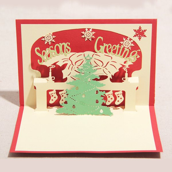 Digital Christmas Cards.100mm 150mm High Quality Handmade Merry Christmas Tree Words Greetings Cards Kirigami 3d Pop Up Card Hot Sale Free Christmas Cards Online Free Digital