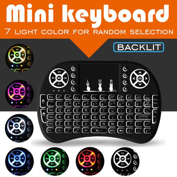 게임 키보드 Rii i8 미니 무선 마우스 2.4 그램 휴대용 터치 패드 충전식 배터리 플라이 에어 마우스 원격 제어 7 색 백라이트