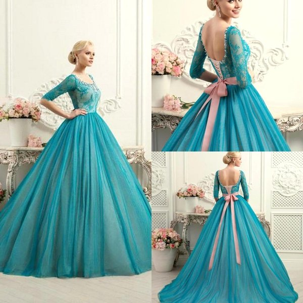 New Sexy Teal Scoop Lace Ball Gown Quinceanera Dresses Lace Up Plus Size With Half Sleeve Bow Fashion Colorful Bridal Party Gowns BO8169