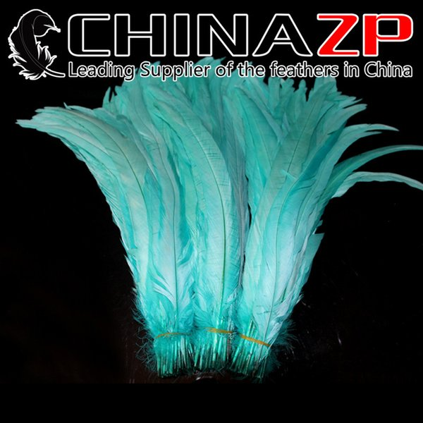 CHINAZP Crafts Factory 30~35cm(12~14inch) 1000pcs/lot Good Quality Dyed Turquoise Blue Loose Rooster Tail Feathers for DIY Decorations