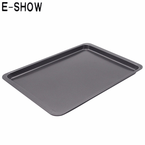 E -Show 14 .5 -Inch Rectangle Carbon Steel Non -Stick Baking Pan Cookies Plate Cake Mold Use In Oven Base Tray -Black