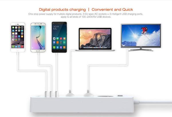 Cavo di alimentazione EU per ufficio casa LDNIO con caricatore intelligente USB a 3 porte per elettrodomestici iPhone / iPad -White