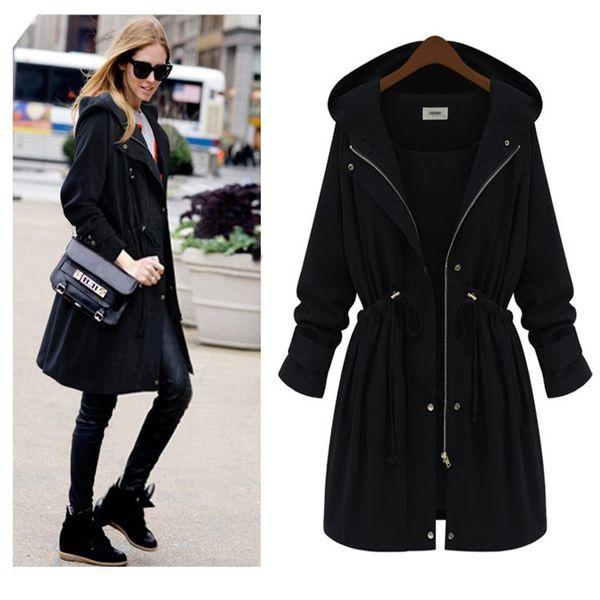 Wholesale- Echoine Women Slim Waist Trench Coat New Fashion Black Arm Green Plus Size Hooded Long Outwear Down Coats Manteau Femme 4XL