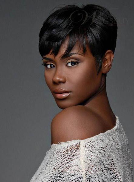 100% cabelo humano nova moda cor preta curto perucas das mulheres peruca cheia